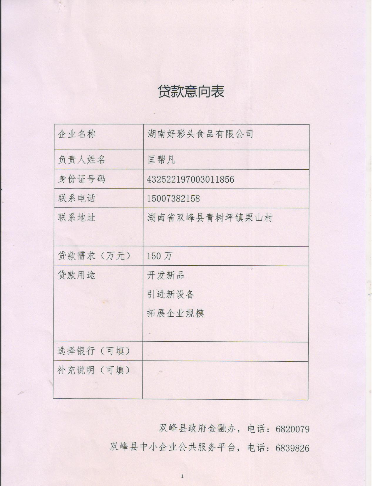 贷款意向表 021