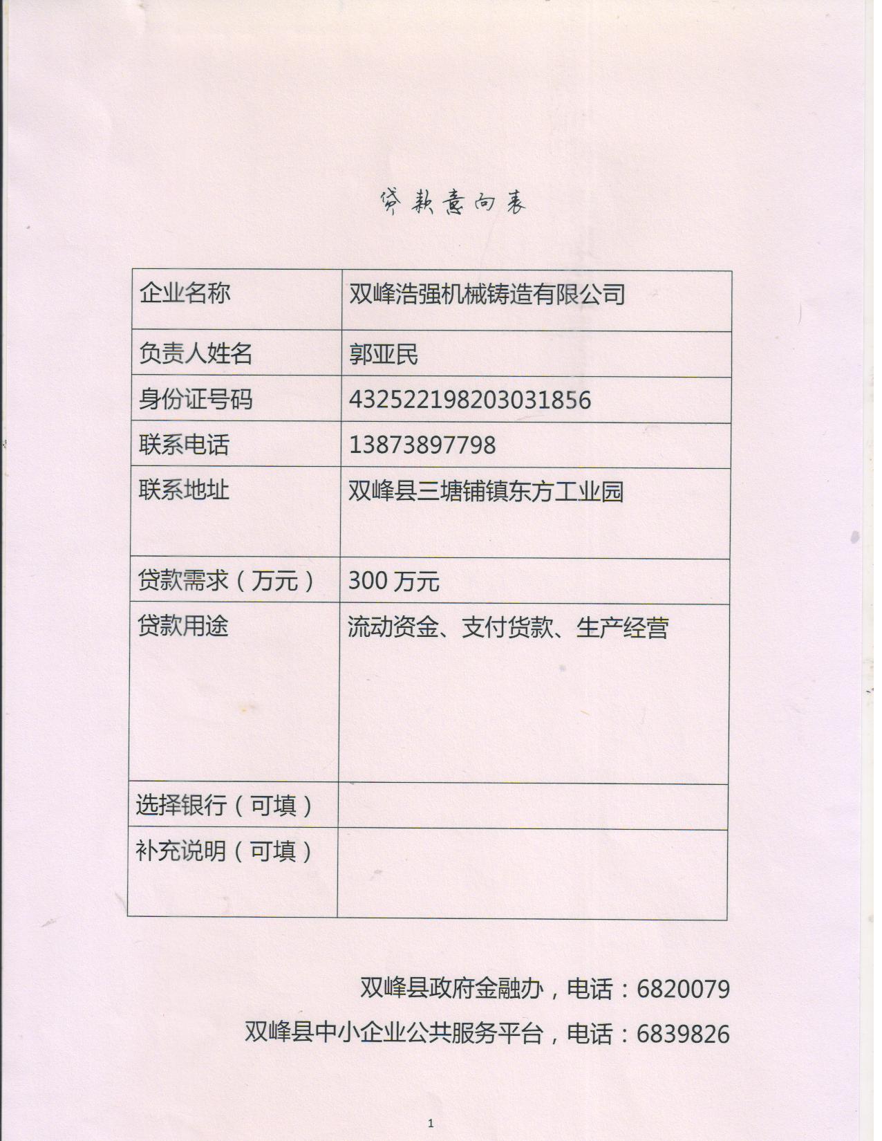 贷款意向表 015