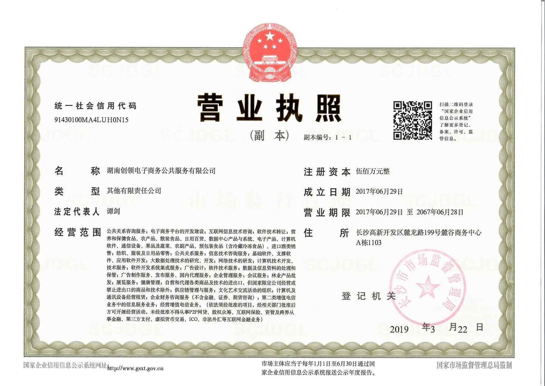 湖南创领电子商务公共服务有限公司