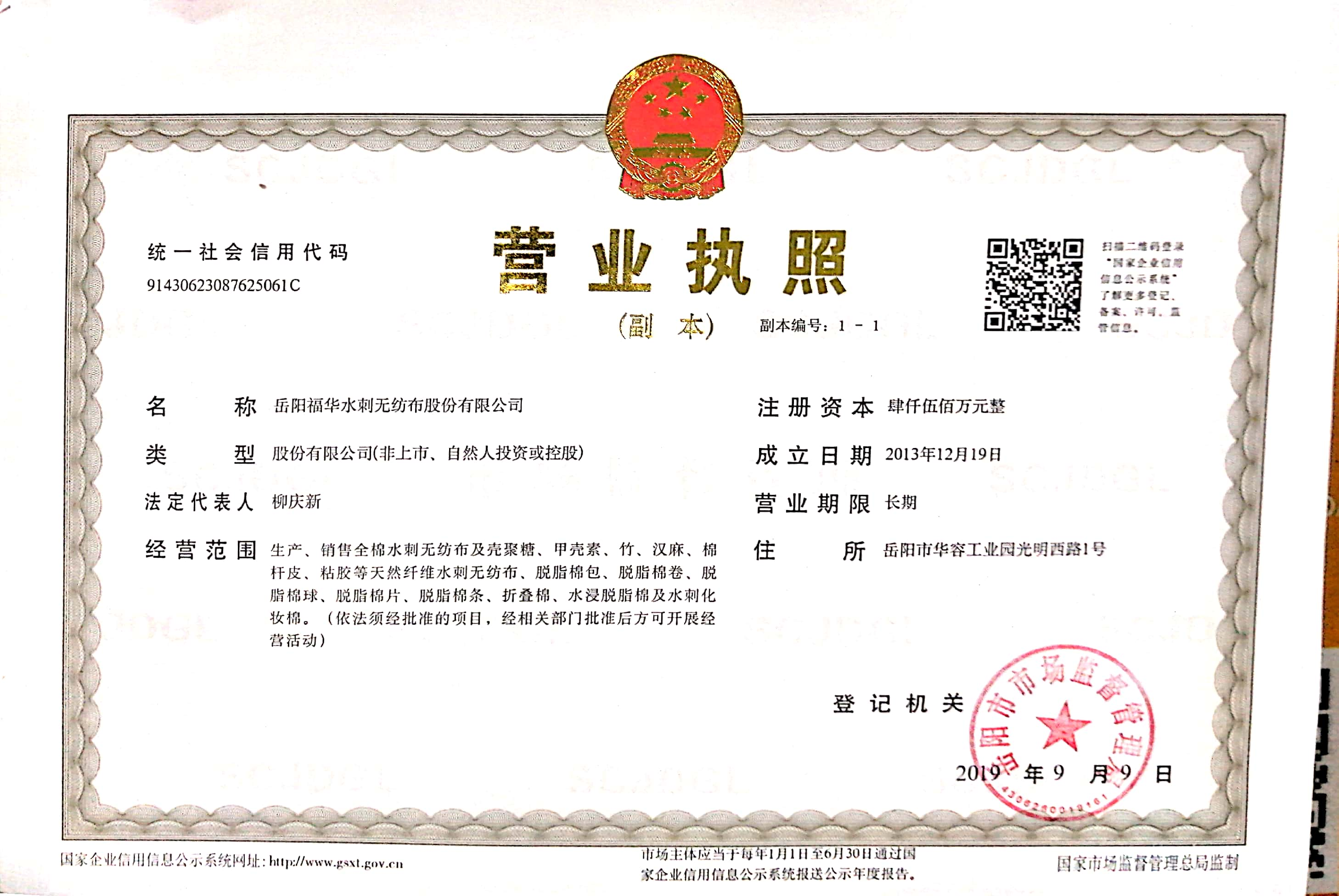 岳阳福华水刺无纺布股份有限公司