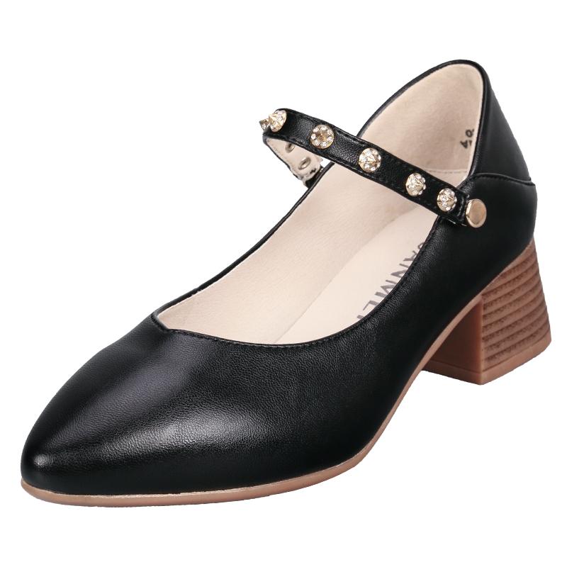 远美鞋业秋季新款ins粗高跟妈妈小皮鞋