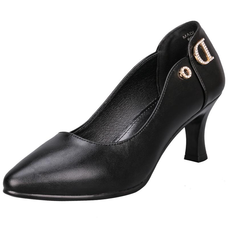 远美鞋业小圆头字母水钻浅口女式单鞋