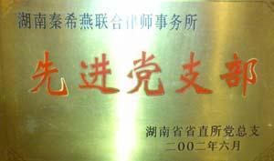 """2002年,湖南省直所党总支授予""""湖南省先进党支部"""""""