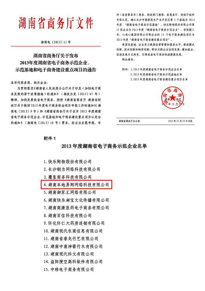 2.2013年度湖南省电子商务示范企业