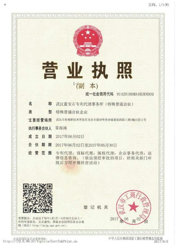武汉蓝宝石专利代理事务所