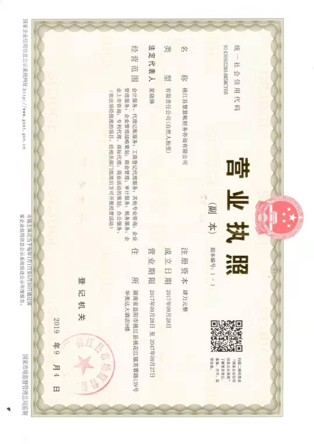 桃江县慧算账财务咨询有限公司