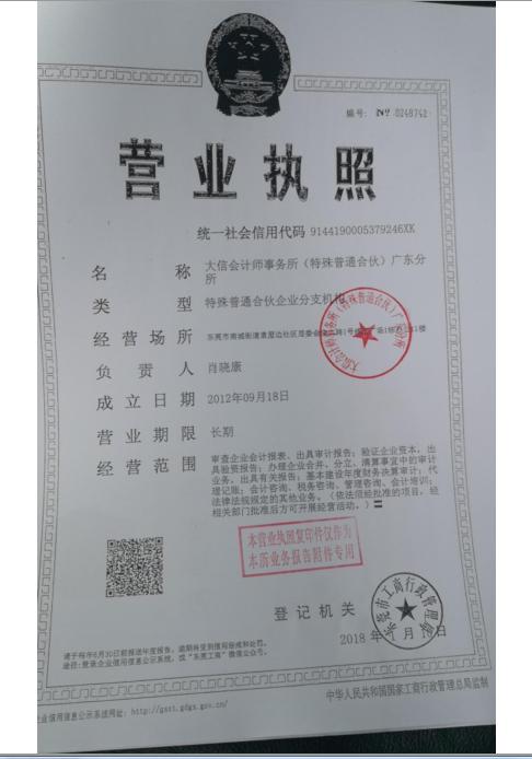 大信会计师事务所特殊普通合伙广东分所