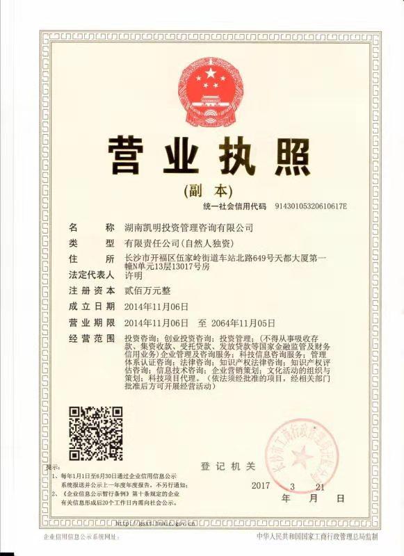 湖南凯明投资管理咨询有限公司